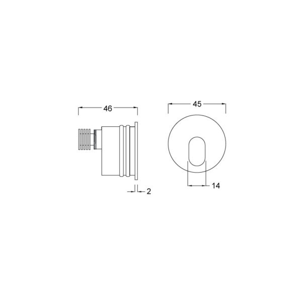 ogi wall recessed led series luminaire dimension