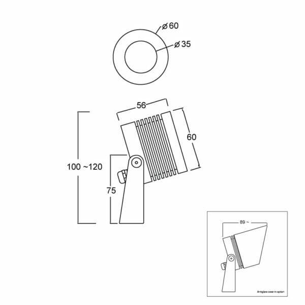 outdoor spotlight,exterior lighting,dimensions